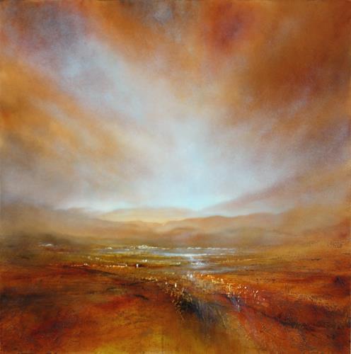 Annette Schmucker, Herbstliches Licht, Landscapes: Autumn, Nature: Earth, Neo-Impressionism, Expressionism