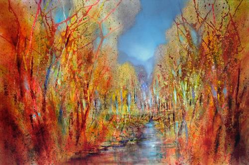 Annette Schmucker, Bunt sind schon die Wälder, Landscapes, Landscapes: Autumn, Contemporary Art, Expressionism