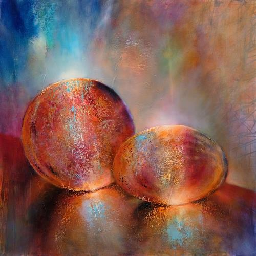 Annette Schmucker, Zwei Murmeln, Still life, Fantasy, Neo-Impressionism