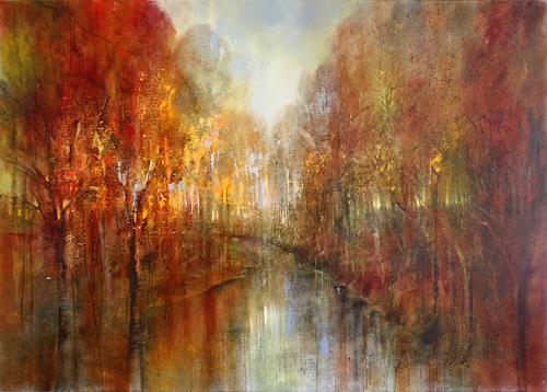 Annette Schmucker, And the forests will echo with laughter, Landscapes: Autumn, Landscapes: Mountains, Neo-Impressionism, Expressionism