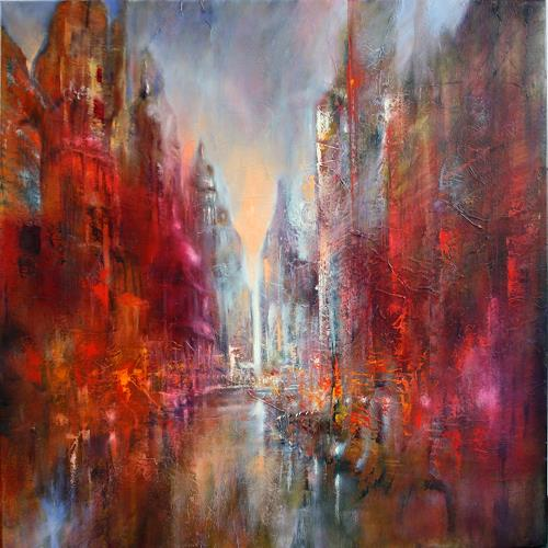 Annette Schmucker, Domstadt, Buildings: Skyscrapers, Miscellaneous Traffic, Contemporary Art, Expressionism