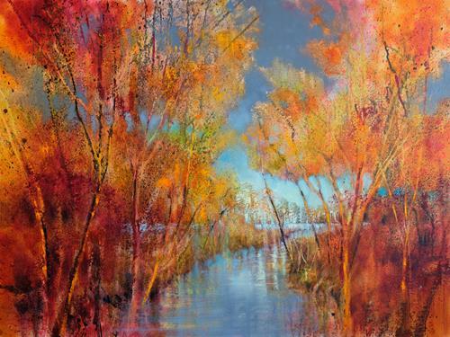 Annette Schmucker, Herbstfreuden, Landscapes: Autumn, Landscapes: Sea/Ocean, Contemporary Art, Expressionism