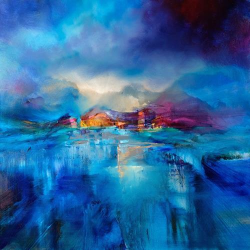 Annette Schmucker, Winterabend, Landscapes: Winter, Landscapes: Mountains, Contemporary Art, Expressionism