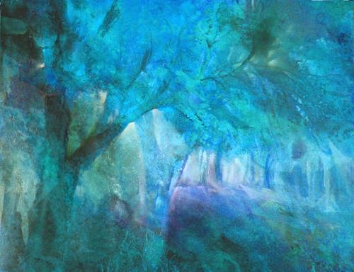 Annette Schmucker, Blauer Herbstwald II, Plants: Trees, Contemporary Art