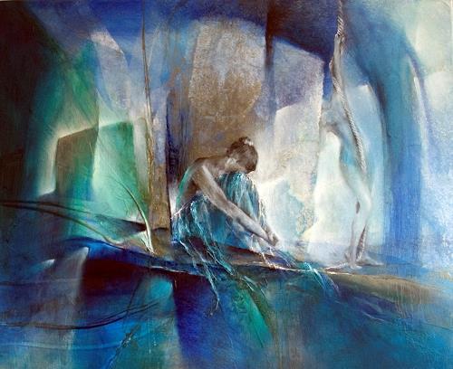 Annette Schmucker, Im blauen Raum, People: Women, Abstract art, Contemporary Art, Expressionism