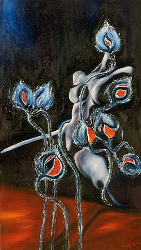 Renu G., Waiting for sunshine, Erotic motifs: Female nudes, Plants: Flowers, Modern Age