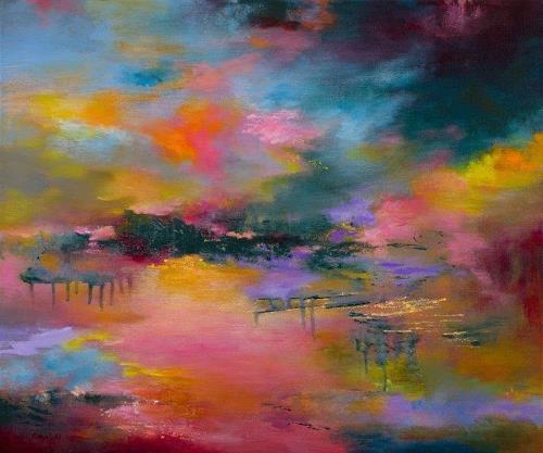 Rikka AYASAKI, Sunset (#135), Landscapes, Fantasy, Abstract Art