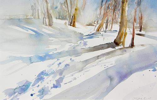 Christina Kläfiger, Winterland, Landscapes: Winter, Landscapes: Hills, Expressionism