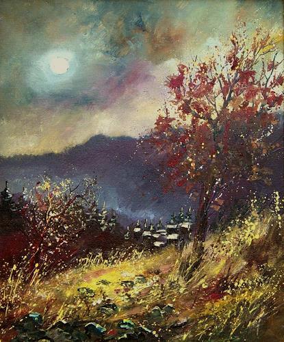 pol ledent, Autumn in Houyet, Landscapes: Autumn, Neo-Impressionism