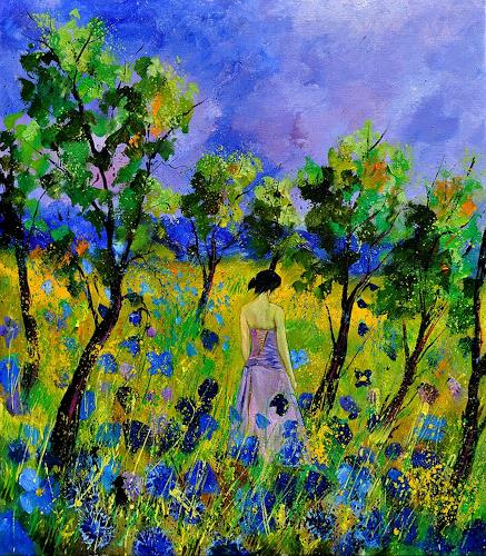 pol ledent, summer walk, Decorative Art, Landscapes: Summer, Impressionism