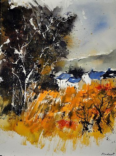 pol ledent, watercolor 212042, Landscapes: Summer, Impressionism, Modern Age