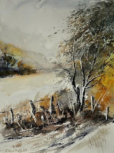 pol ledent, watercolor 212052, Landscapes: Spring, Impressionism, Modern Age