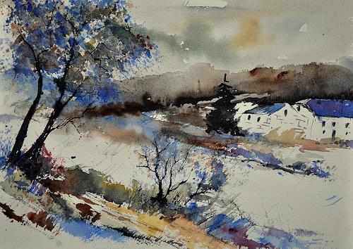 pol ledent, watercolor 212062, Landscapes: Winter, Impressionism, Modern Age
