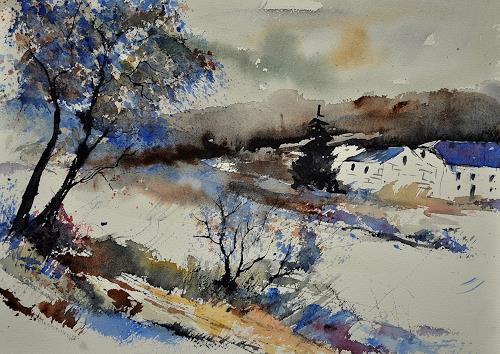pol ledent, watercolor 212062, Landscapes: Winter, Impressionism