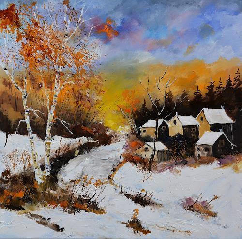 pol ledent, winter 886101, Landscapes, Landscapes: Winter, Expressive Realism, Expressionism