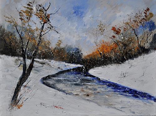 pol ledent, Winter landscape 6841, Landscapes: Winter, Nature: Wood, Biedermeier