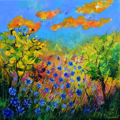 pol ledent, Blue cornflowers, Landscapes: Summer, Neo-Impressionism
