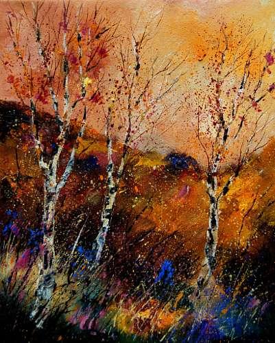 pol ledent, falling leaves, Landscapes: Autumn, Expressive Realism, Expressionism
