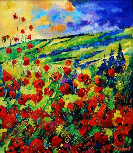 pol ledent, poppies 78, Plants: Flowers, Landscapes: Summer, Neo-Expressionism, Expressionism