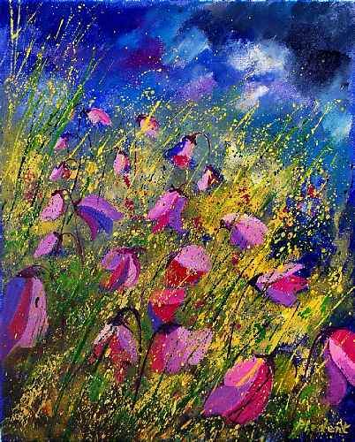 pol ledent, Purple wild flowers, Landscapes: Summer, Plants: Flowers, Romanticism, Modern Times