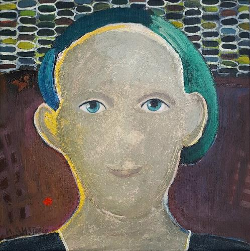 Maria Gust, Der Blick, People: Women, Miscellaneous Emotions, Contemporary Art, Abstract Expressionism