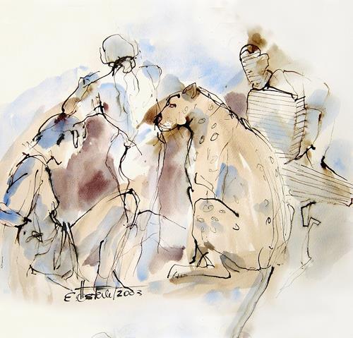 E.Oesterle, Der Tanz mit dem Tieger, Movement, Miscellaneous Erotic motifs, Modern Age