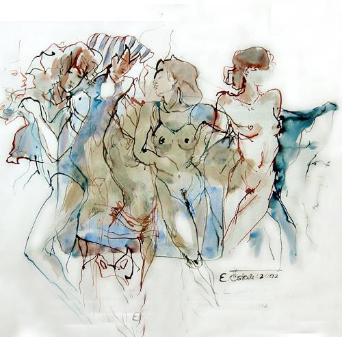 E.Oesterle, Ägyptische Tänzerinnen, Miscellaneous Erotic motifs, Movement, Modern Times, Expressionism