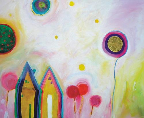 Hilde Zielinski, Cottages grow up to Palaces, Fantasy, Poetry, Contemporary Art, Expressionism