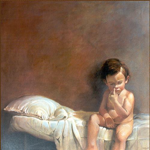 Lorenzo Antognetti, '' Mio figlio Riccardo '' di Lorenzo Antogneetti, People: Portraits, Realism, Expressionism