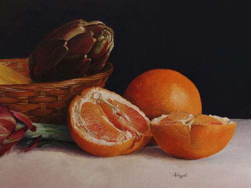 Lorenzo Antognetti, '' Composizione con aranci '' di Lorenzo Antognetti _detail, Still life, Realism, Expressionism