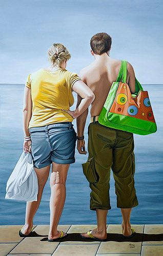 Kerstin Arnold, The Freedom to Travel - All Inclusive, People: Couples, Society, Realism, Expressionism