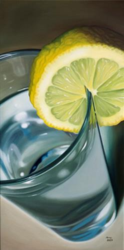 Kerstin Arnold, Aqua-Lemon, Still life, Meal, Realism, Expressionism