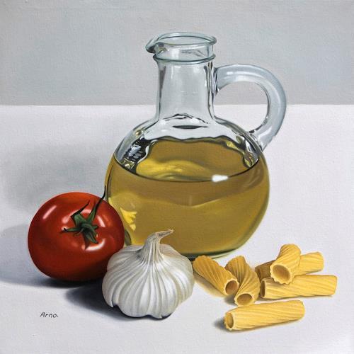 Kerstin Arnold, Rigatoni con salsa di pomodoro, Still life, Meal, Realism, Expressionism