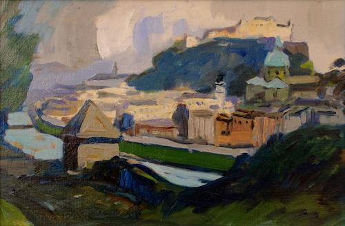 Franz Brandner, Ansicht v.Salzburg, Miscellaneous Buildings, Landscapes: Hills, Der Blaue Reiter, Expressionism