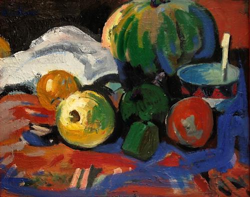 Franz Brandner, Stilleben mit Melone, Still life, Plants: Fruits, Fauvismus, Expressionism