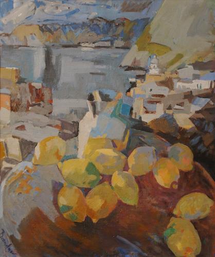 Franz Brandner, Stillife with Lemon, Still life, Landscapes: Tropics, Cubism, Expressionism