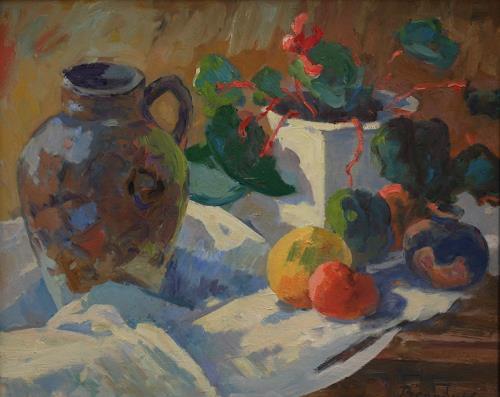 Franz Brandner, Stilleben mit Krug, Still life, Plants: Fruits, Post-Impressionism, Expressionism