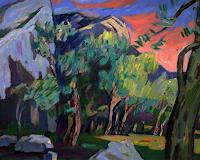 Franz-Brandner-Landscapes-Mountains-Nature-Rock-Modern-Age-Expressionism-Der-Blaue-Reiter