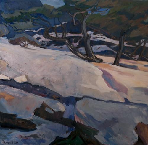 Franz Brandner, Schnee im Gebirge, Landscapes: Winter, Nature: Rock, Fauvismus, Expressionism