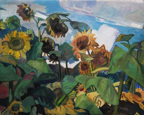 Franz Brandner, Sunflower field, Nature: Miscellaneous, Landscapes: Summer, Fauvismus, Expressionism