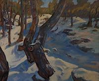 Franz-Brandner-Landscapes-Winter-Nature-Wood-Modern-Age-Impressionism-Post-Impressionism