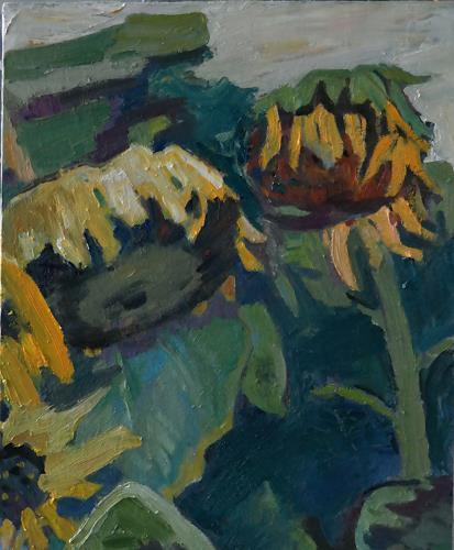 Franz Brandner, Sunflower, Plants: Flowers, Still life, Fauvismus, Expressionism