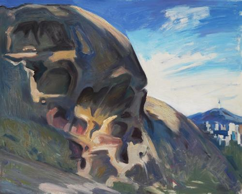 Franz Brandner, skull rock, Landscapes: Mountains, Nature: Rock, Neo-Expressionism