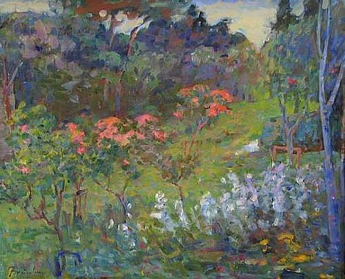 Franz Brandner, Spring blossoms, Landscapes: Spring, Nature: Miscellaneous, Post-Impressionism, Expressionism