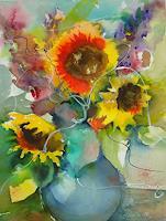 Ingeborg Schnöke, Für immer festgehalten......(Sonnenblumen in Vase)