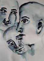 Ingeborg-Schnoeke-People-People-Faces-Modern-Age-Abstract-Art