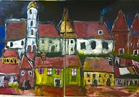 Despina-Papadopoulou-Landscapes-Autumn-Buildings-Modern-Age-Expressionism-Neo-Expressionism