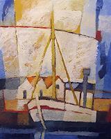 Lutz-Baar-Landscapes-Sea-Ocean-Verkehr-Ship-Modern-Age-Impressionism-Neo-Impressionism
