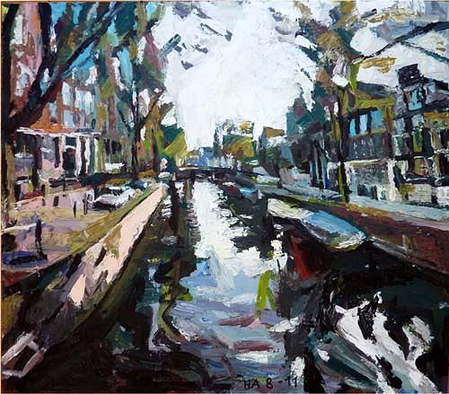 Heini Andermatt, Amsterdam, Gracht, Architecture, Miscellaneous Landscapes, Postmodernism, Abstract Expressionism