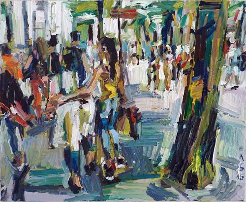 Heini Andermatt, Girls in der Bahnhofstrasse Zürich, People: Women, Architecture, New Figurative Art, Abstract Expressionism